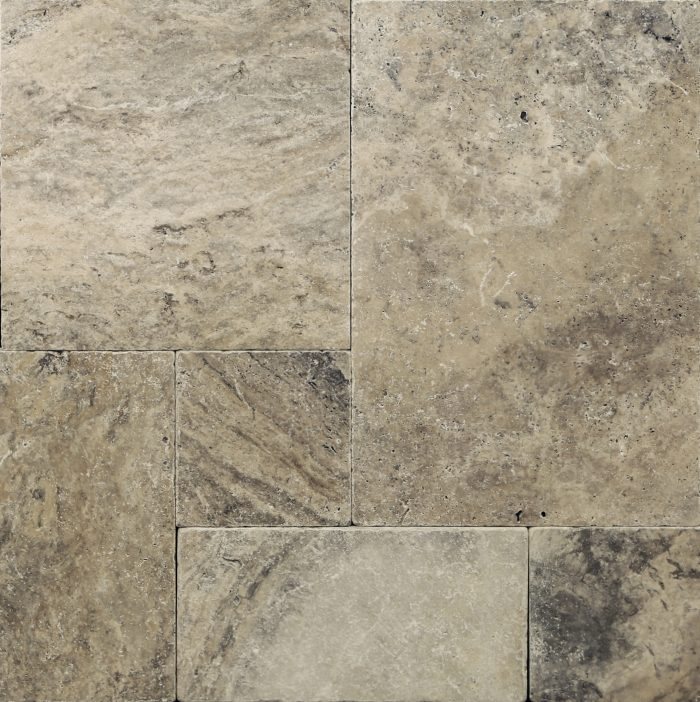 Silver French Pattern Tumbled Travertine Paver